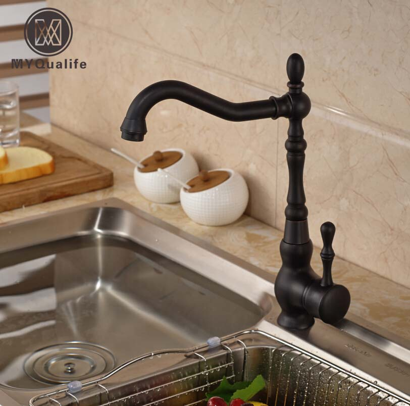 Deck Mount Bathroom Kitchen Faucet Single Handle 360 Rotate Basin Sink Mixer Taps Black Hot and Cold Water Mixers goose neck bathroom kitchen faucet 360 rotation single handle kitchen mixer taps with hot and cold water black deck mounted