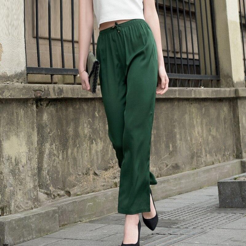 Sprzedaż hurtowa kobiet prawdziwego jedwabiu spodnie wysokiej talii luźne spodnie na co dzień pełnej długości spodnie damskie spodnie wygodne kobiece Plus OL spodnie 605 w Spodnie i spodnie capri od Odzież damska na  Grupa 3