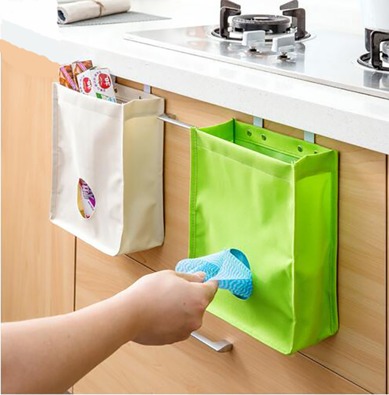 Creative Storage Bag Sundries Disposable Bag Organizer Trash Can Storage Hanging Rubbish Holder Oxford Kitchen Accessories