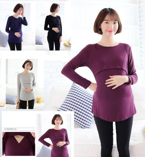 Tops Maternity shirts Breastfeeding Clothes for Pregnant t-shirts Women Fashion style Cotton Comfortable Nursing Clothes
