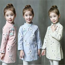 New Autumn 2016 Girls Cheongsam Dress Long Sleeve Kids Dress Floral Infants Signature Cotton Children  Vintage Dress, 2-7Y
