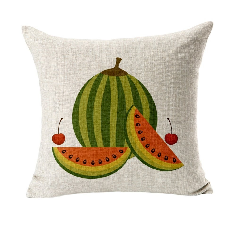 Watermelon Vivid Fruit Emoji Throw Pillow Cover Decorative Massager Vintage Pillows Linen Zip Diy Home Decor Gift 18x18 Delaying Senility Garden Supplies