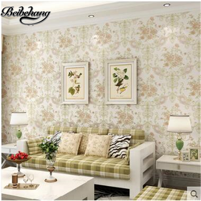 Beibehang papel de parede wallpapers European pastoral floral 3D stereo wallpaper living room TV background bedroom full house M large mural papel de parede european nostalgia abstract flower and bird wallpaper living room sofa tv wall bedroom 3d wallpaper