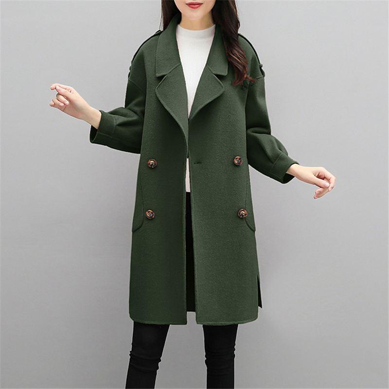 Mode Revers Dames Manteau Cachemire Femmes Plus Pardessus Outwear army La Hiver Femelle Green Laine Veste Lâche O648 Mélanges Imitation Jiaotangse rose Automne Taille 5qx4Oc7vY