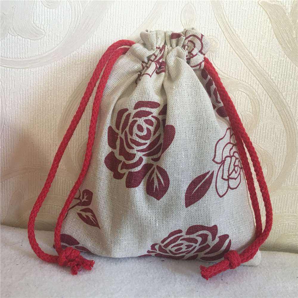 YILE Cotton Linen Drawstring Multi-purpose Pouch Gift Party Bag Red Rose Flower Red String 8201c