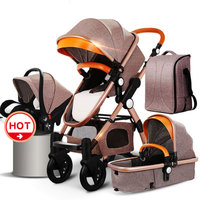 HJBB baby stroller Aluminum alloy 4 in 1 baby stroller EU market high quality baby stroller export newborn 3 in 1 baby carriage