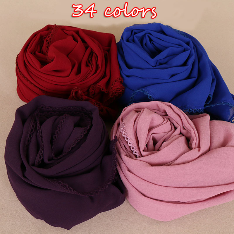 34 Colors New 2018 Bubble Chiffon Hijab Floral Lace Scarf Muslim Hijab Winter Women Shawls Wrap Long Pashmina Scarves 180*75cm