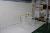 3PCS LOT ONE LUX Contemporary Versatile Lucite Acrylic Nesting Coffee Tables Set Of Three