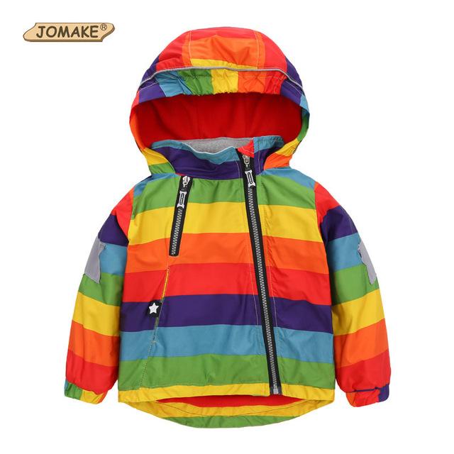 Meninos capa de Chuva Meninas Casacos Moda Fresco Bomber Jacket Crianças Rainbow Cor Parágrafos Meninos Estilo de Moda Outerwear para o Outono