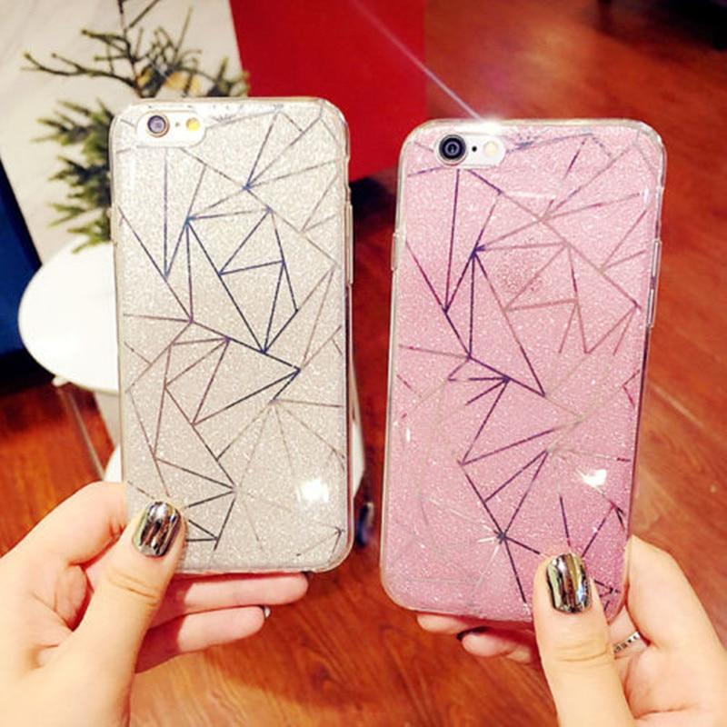 YISHANGOU Fashion Bling Glitter Diamonds Pattern Plating Phone Case For iPhone X 8 Plus 6 6S Plus 7 Plus Hard PC Plastic Cover