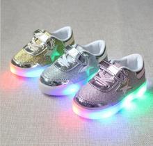 Размер 21-30 New Baby Девушки Мальчик Ребенок Свет Обувь Малышей Противоскользящие Спорт Детям Кроссовки Дети Светящиеся Обувь