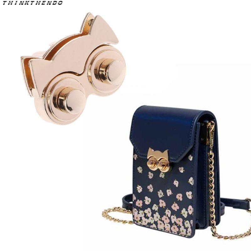 THINKTHENDO Fashion 1 Pc New Cute Metal Owl Clasp Turn Twist Lock For DIY Handbag Craft Bag Purse Accessories