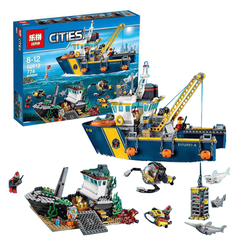 Lepin 02012 City Series Deepwater Exploration Vessel Children Educational Building Blocks Bricks Toys Model funny boy Gift 60095 sermoido 02012 774pcs city series deep sea exploration vessel children educational building blocks bricks toys model gift 60095