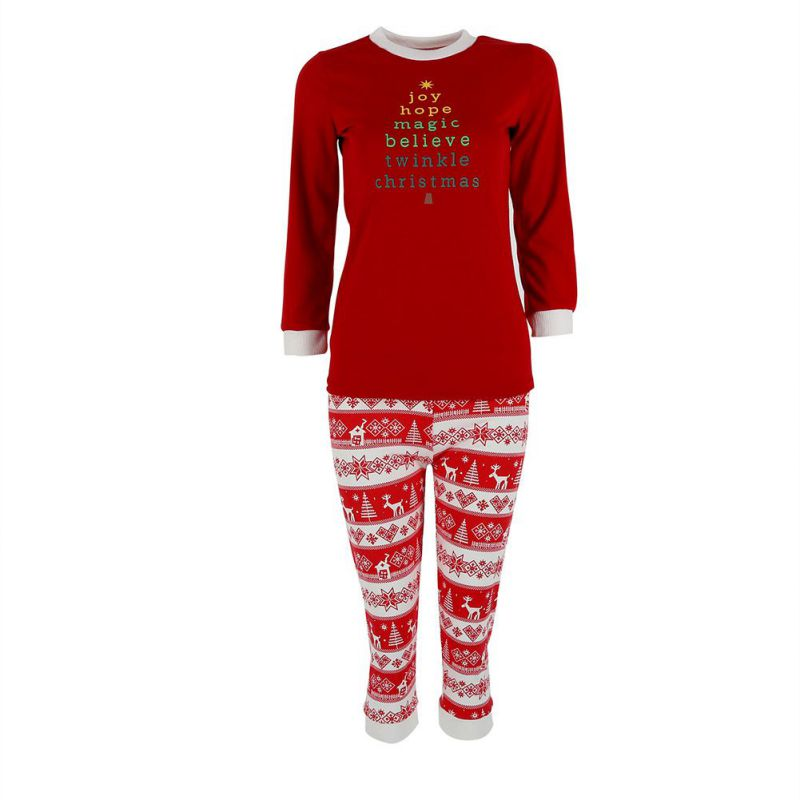 New Christmas Cotton Letter Print Family Pajamas Women Men Autumn Sleepwear Nightwear