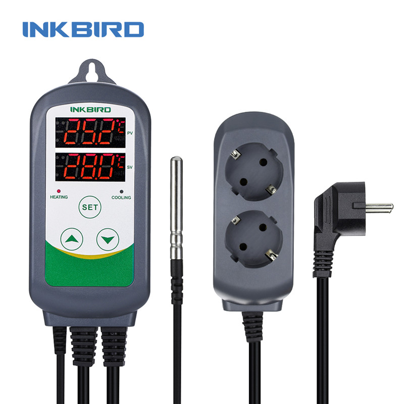 110V ITC-308 2 Stage Digital Temperature Controller Outlet Thermostat Pre-wired Digital Temperature Controller thermostat intelligent high temperature thermostat 400 degrees temperature controller digital adjustable temperature controller bihe gw380c