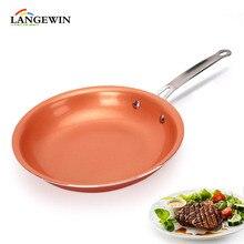 Антипригарная сковорода медь поддон для сковороды с керамическим покрытием Кастрюля духовка подходит для индукционный вок Титан сковорода