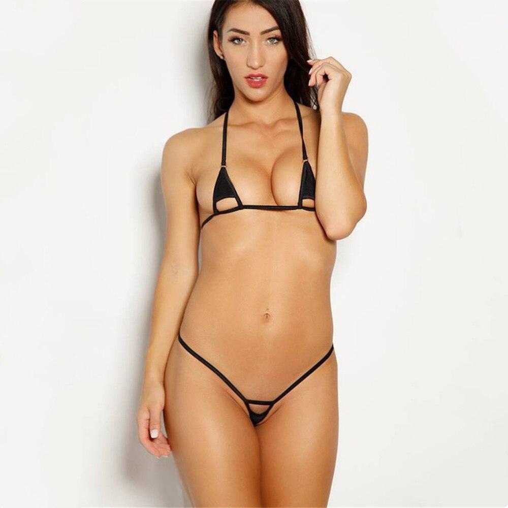 마이크로 비키니 2019 섹시한 솔리드 컬러 슬링 할로우 로션 소녀 비치 일광욕 수영복 여성 수영복 Biquini Bikinis Monokini