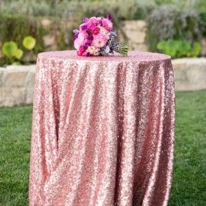 ShinyBeauty 132 Inch 330cm Sequin Tablecloth Pink Gold Sequin Round Table Cloth For Wedding Party R