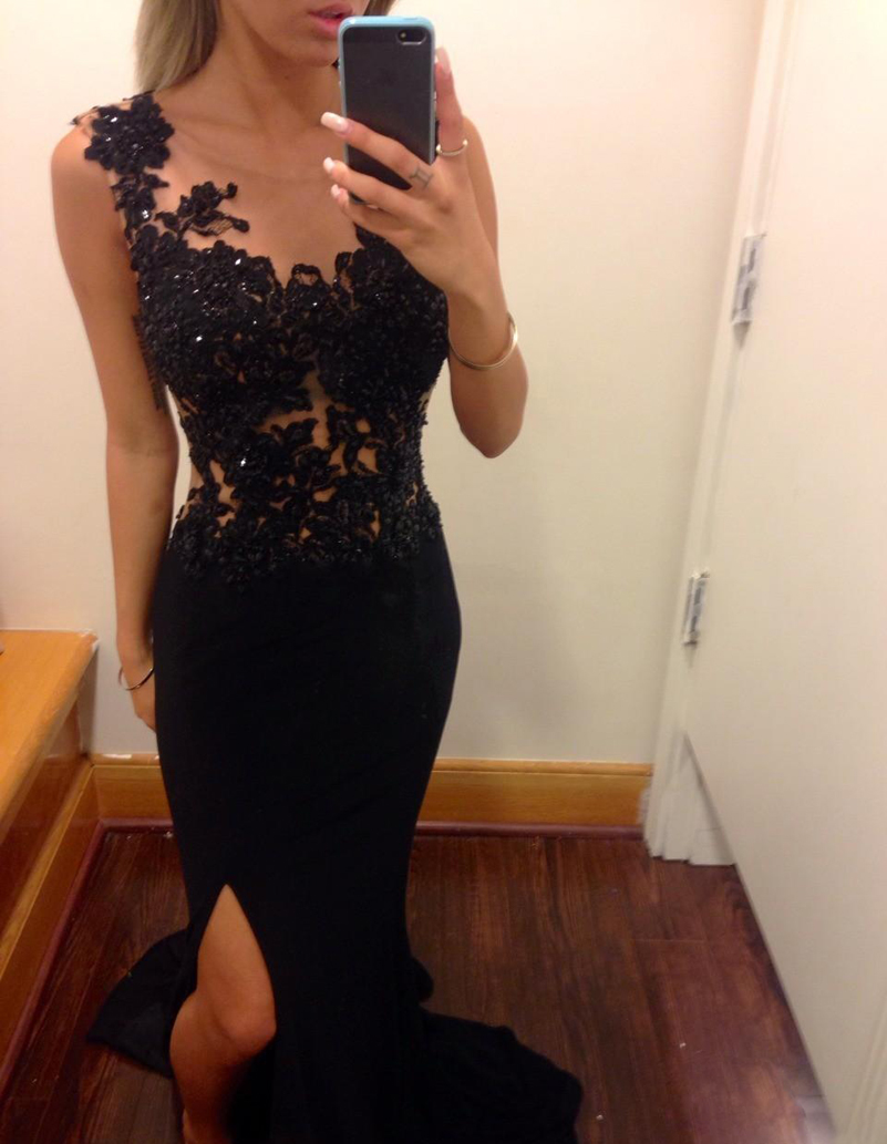 Black lace mermaid prom dress uk long