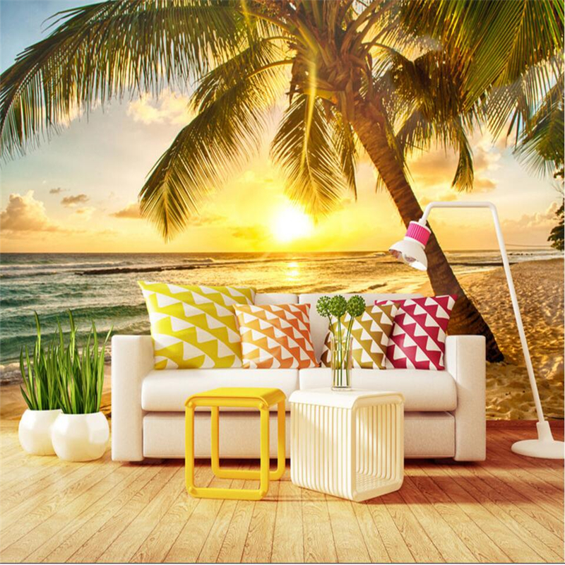 US $9 0 40% OFF|beibehang Seaside scenery sunset coconut palm beach  background wall custom large fresco wallpaper papel de parede para  quarto-in
