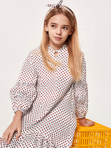 Image 2 - Balabala Girls Ruffled Collar Dress with Flare Hem with Bow Tie at Neck Teenager Girls Patterned Dress Spring Autumn Dresses