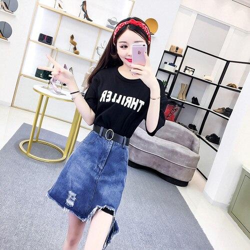 HAMALIEL/летний комплект из 2 предметов, модная женская красная свободная длинная футболка с буквенным принтом для девочек+ джинсы, облегающая юбка с кисточками - Цвет: Черный