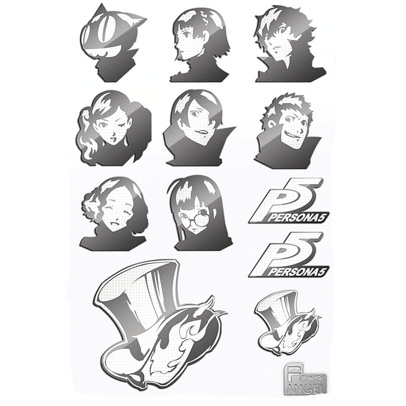 PERSONA 5 Luxury 3D Metal Sticker Anime Stickers for Phone Laptop Waterproof DIY Fridge Sticker