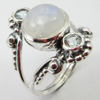Silver Latest Style Blue Rainbow Moonstone Ring Size 9 Unique Designed