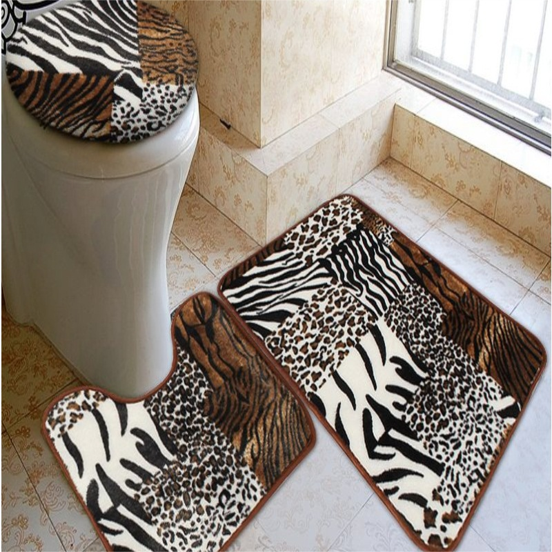 Bathroom Mat Bath Rug Set Animal Skin
