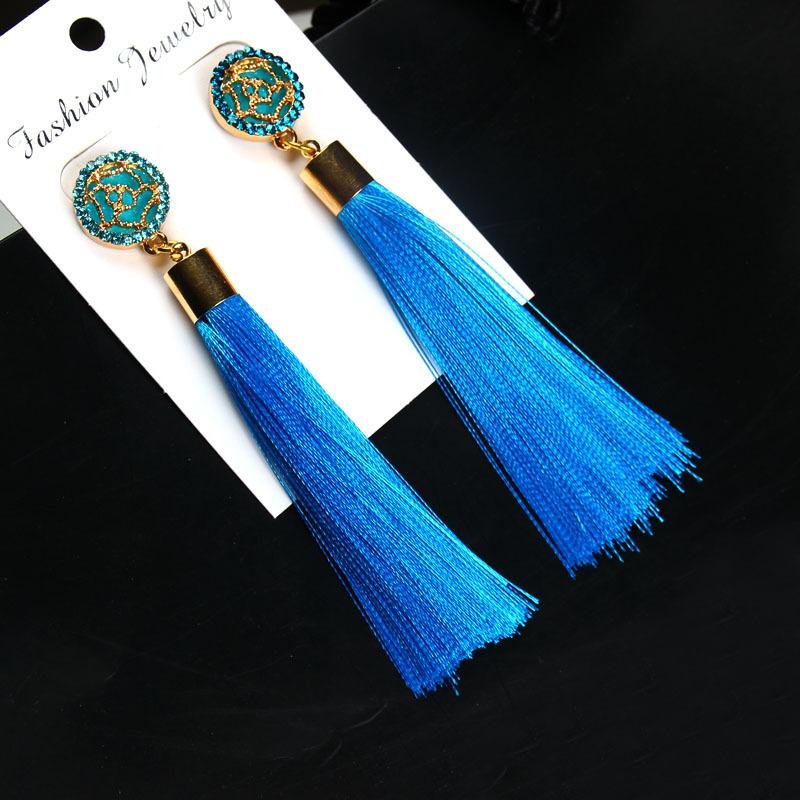Exaggerated Rhinestone Long Tassel Earrings 2017 New Arrival Fashion Brincos Bijoux Crystal Dangle Earrings Women's Jewelry 19
