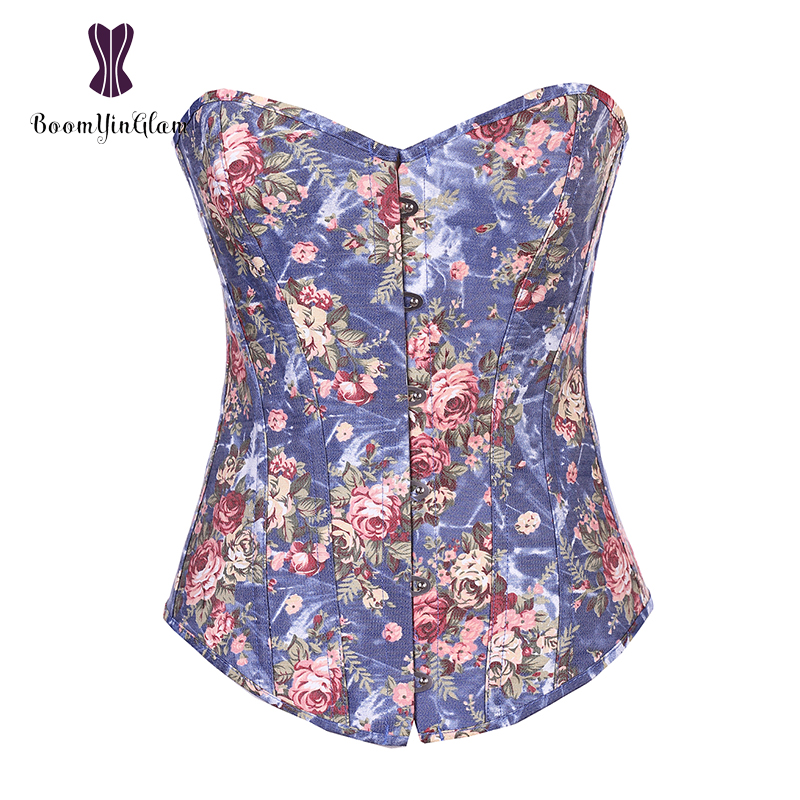 Free Shipping Floral Slimming Waist Shapewear Bodysuit Women Overbust   Corsets   &   Bustiers   Top With G String Size S-XXL 858#