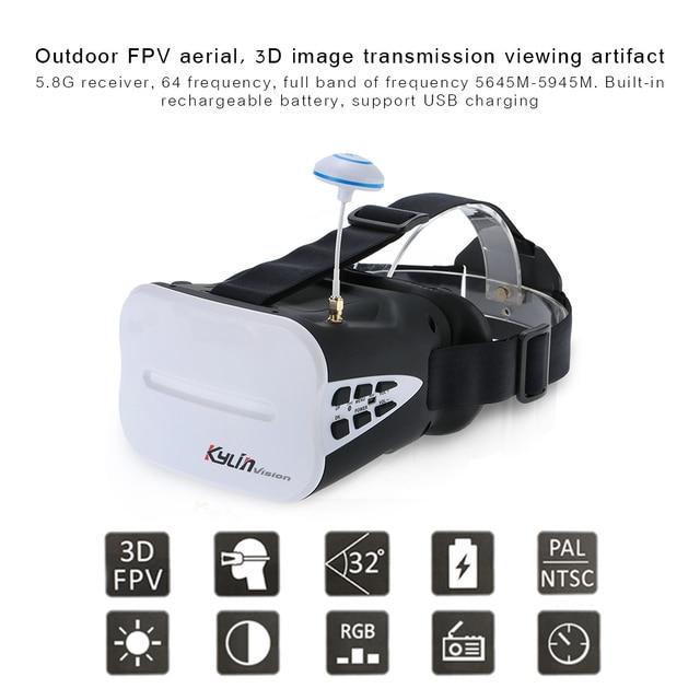 64CH 5.8G 3D FPV Goggles 5 Inch VR Headset 2000mAh Battery