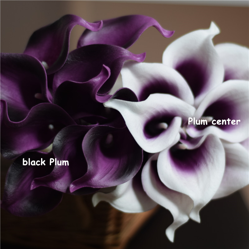 Artificial Flowers Real Touch Picasso Plum Calla Lilies Bouquet