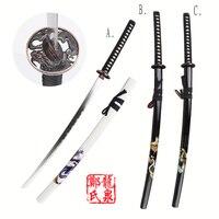 104cm Free Shipping Carbonl Steel Katana Sword Dragon Tsuba Wooden Sheath White/Black with Dragon Samurai Decorative Patterns