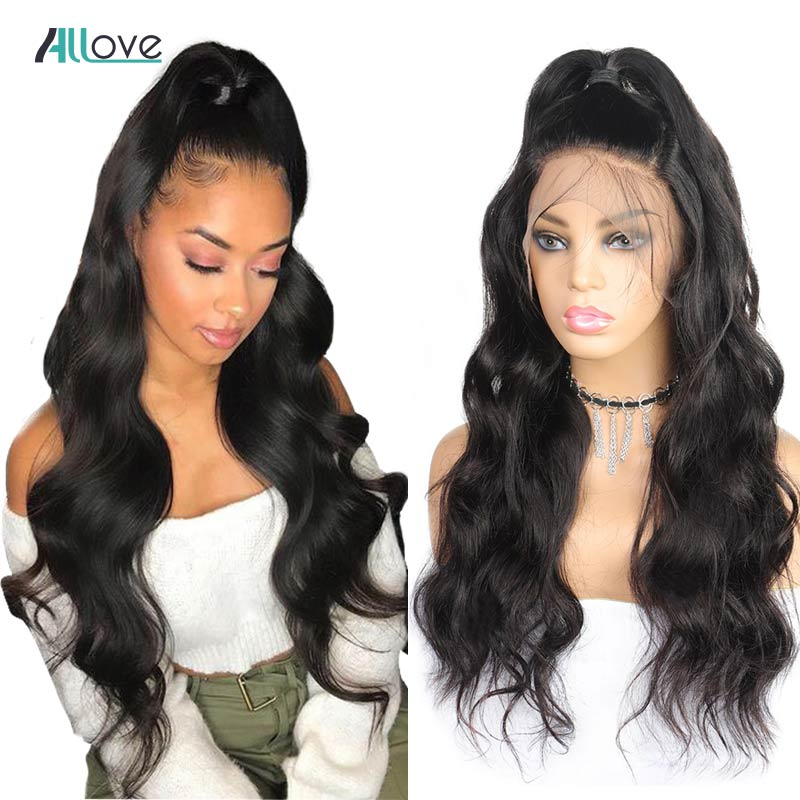 Allove Body Wave Lace Front Human Hair Wigs Pre Plucked Hairline With Baby Hair Brazilian Remy