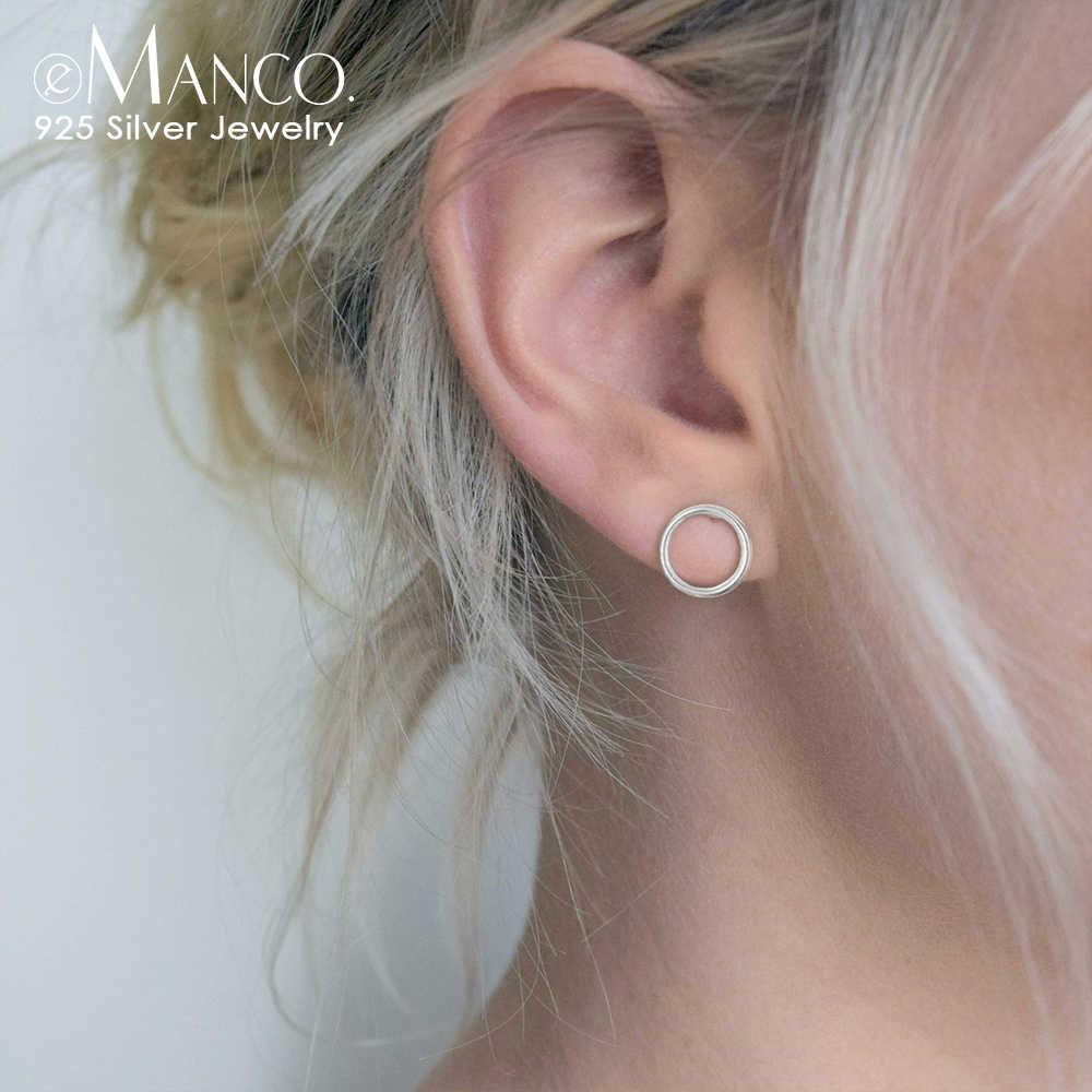 E マンコ 925 スターリングシルバースタッドピアスピアスミニマラウンドサークルスタッドイヤリングファインジュエリーパンク女性のギフト