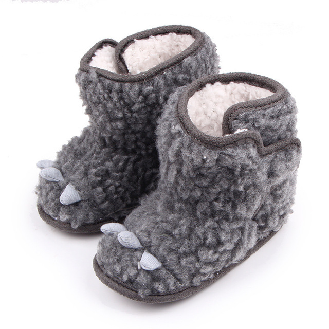 Winter Cotton Grey Color Retro Style Newborn Baby Animal Design High Top Soft Soled Keep Warm Fashion First Walker Boots