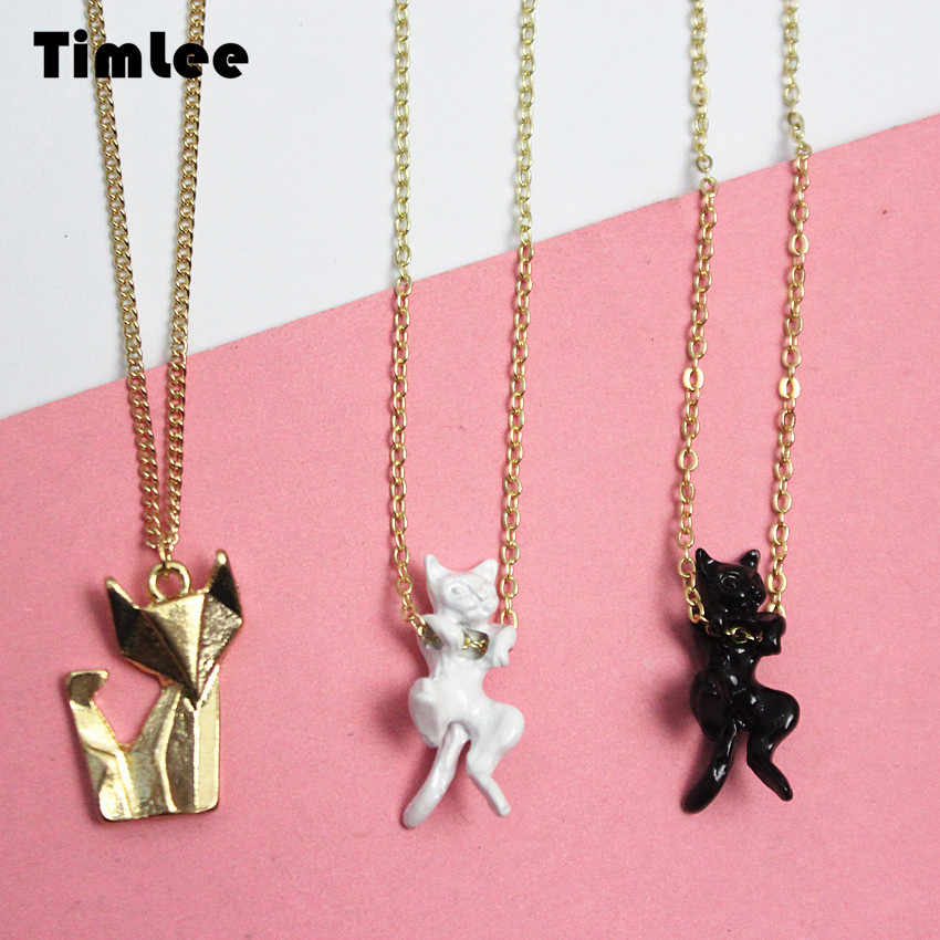 Timlee N001 Free shipping, Cartoon Personality Three-dimensional Cat Fox Necklaces,Fashion Jewelry wholesale.