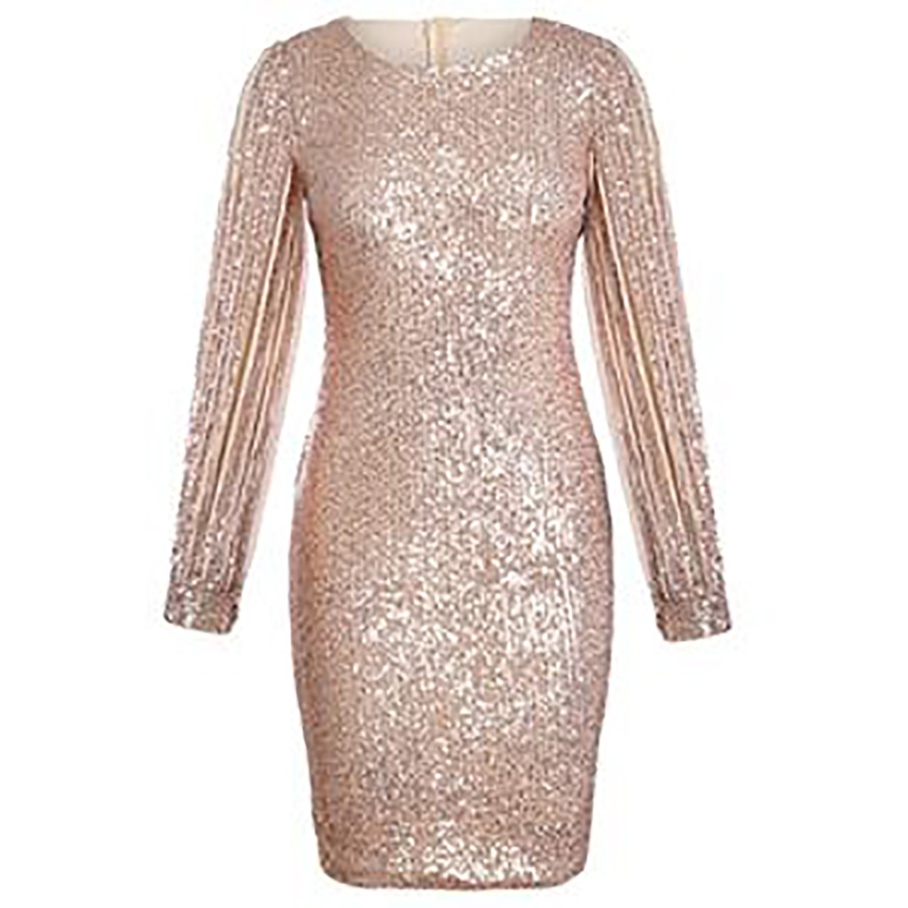 Sexy Sequin Dress Women Bodycon Silver Glitter Party Dress Long Sleeve Sequin Club Dress Gold Shine