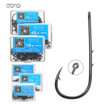 DONQL 50pcs Carbon Steel Barbed Fishing Hooks Jig Head Sea Worm Carp Single Circle Hook for