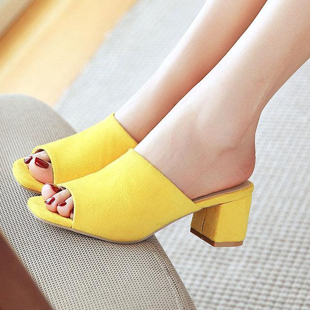 Women Pointed Toe Half Heel Mules