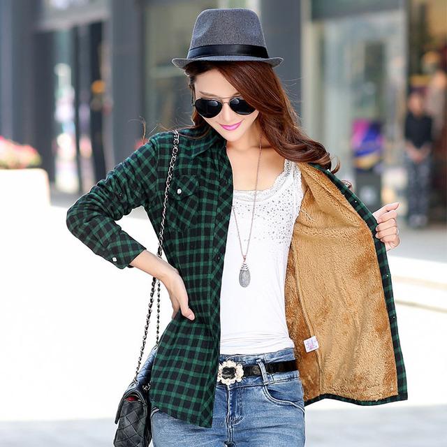 Women Plaid Shirt Style Jacket