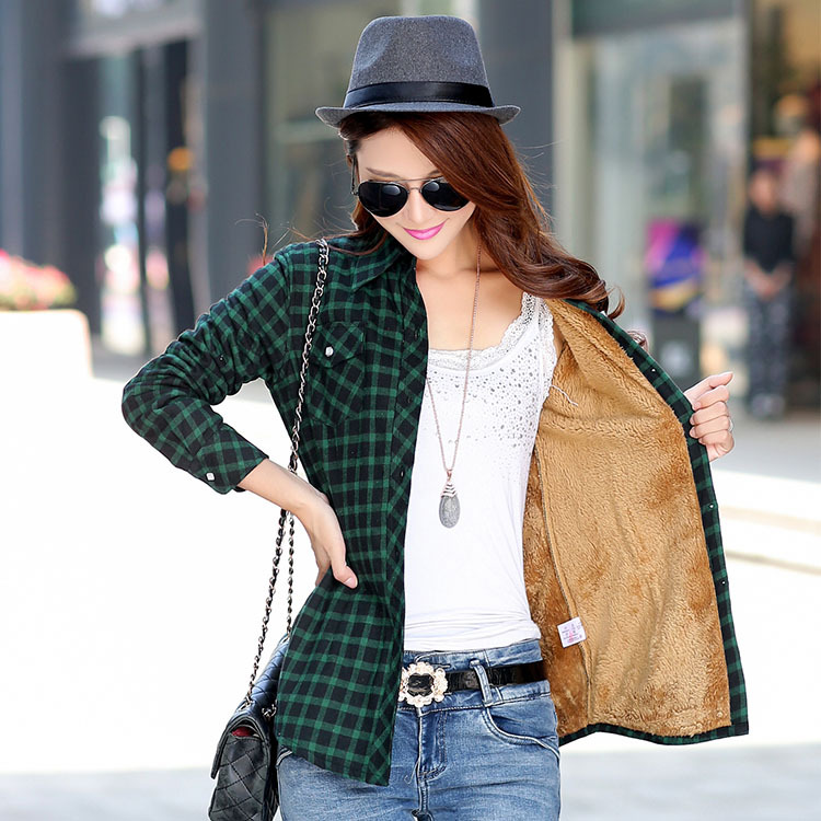 2019 Brand New Winter Warm Women Velvet Thicker Jacket Plaid Shirt Style Coat Female College Style