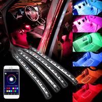 4x 12LED Car RGB LED Neon Interior Light Lamp Strip Decorative Atmosphere Lights Wireless Phone APP