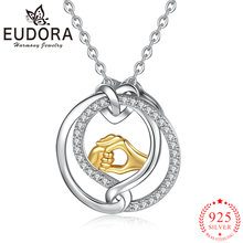 Женское ожерелье с подвеской «рука в руке» из серебра 925 пробы