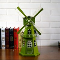 Vintage nostalgic wrought Dutch windmill model creative window collection studio wedding photography props ornaments WL5241643