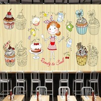 Free Shipping Wooden Background Cute Dessert Shop Paper Cup Cake Background Wall Mural Restaurant Kitchen Custom
