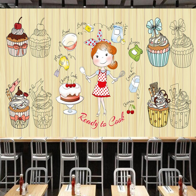 Photo wallpaper Wooden background cute dessert shop paper cup cake background wall mural restaurant kitchen custom wallpaper free shipping 3d dessert cake gourmet theme restaurant wallpaper cake shop dessert coffee dessert snack bar mural