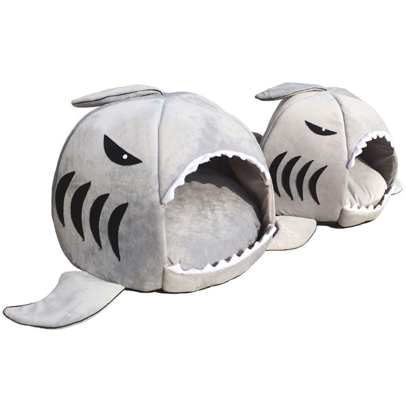 House Pet Dog Warm Soft Sleeping Bag Bed Shark Dog Kennel Cat Bed Cave Cushion  Pillow