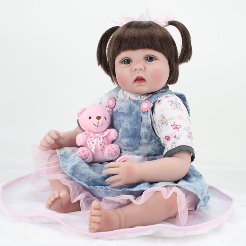 Bebe poupée reborn 55 cm Silicone reborn bébé poupée adorable réaliste bambin Bonecas fille enfant menina de silicone surprice poupée lol